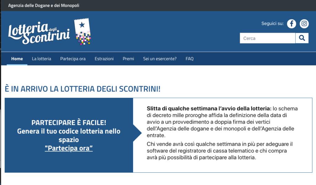 Il sito della lotteria degli scontrini al 30 dicembre 2020